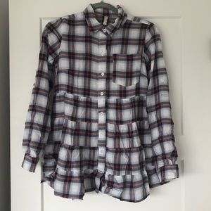 FREE PEOPLE Plaid Top Size 4